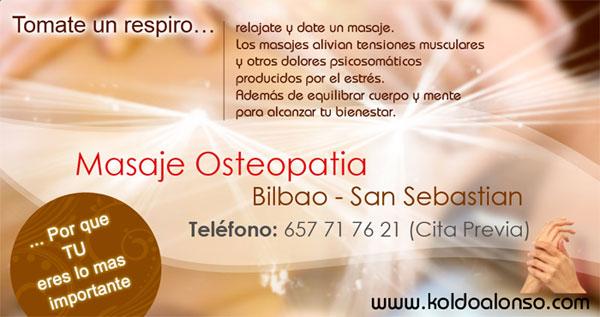 Tu Centro de Bienestar y Salud con servicios de Masaje Osteopatía en Donostia - San Sebastian y Bilbao.